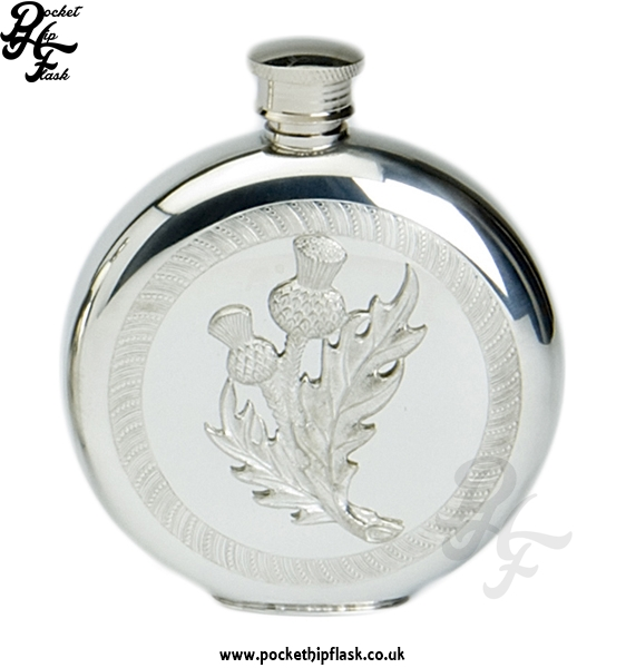 6oz Round Pewter Flask with Pewter Casting
