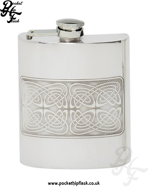 Celtic Pattern 6oz Pewter Hip Flask with captive top