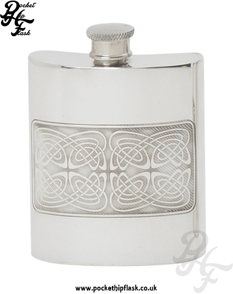 Celtic Pattern 6oz Pewter Hip Flask