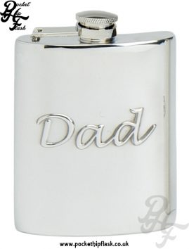 Dad 6oz Pewter Hip Flask with Captive Top