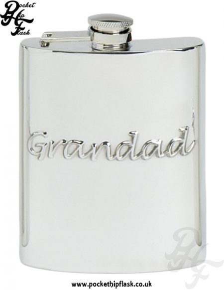 Grandad 6oz Pewter Hip Flask with Captive Top