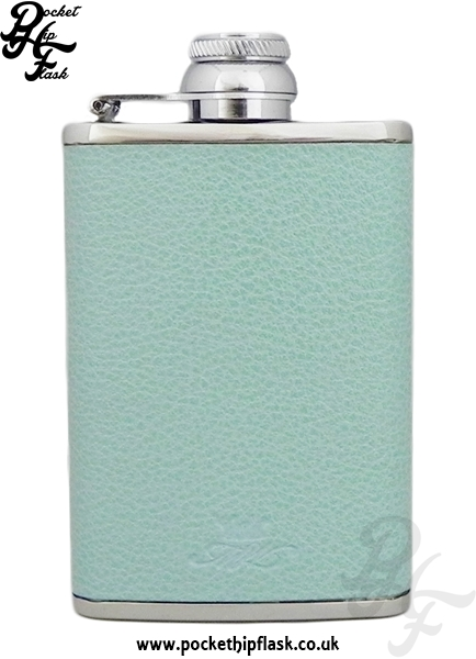 Ladies Aqua Luxury Leather Patterned 3oz Hip Flask