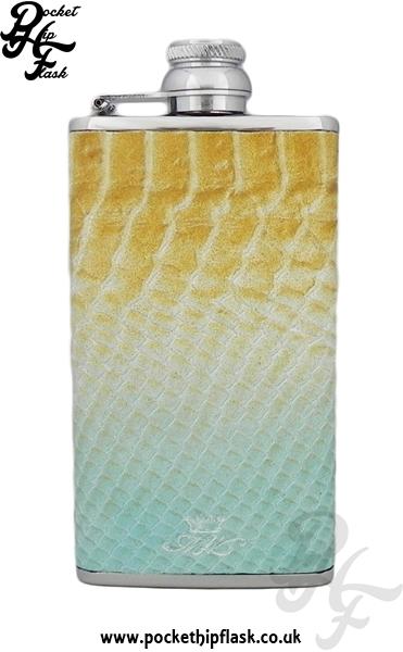 Ladies Blue and Brown Luxury Leather Cobra Pattern 4oz Hip Flask