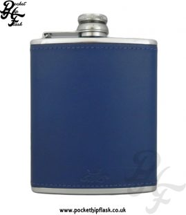 Light Blue Luxury Leather 6oz Stainless Steel Hip Flask