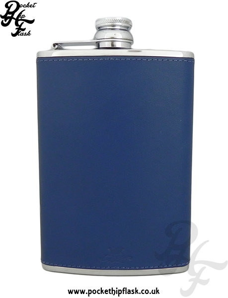 Light Blue Luxury Leather 8oz Stainless Steel Hip Flask