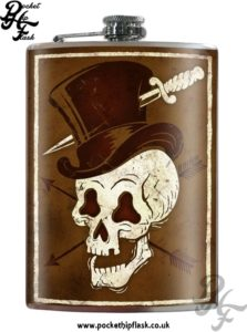 Hat Wearing Skull 8oz Stainless Steel Hip Flask