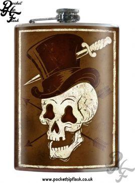 Hat Wearing Skull 8oz Stainless Steel Hip Flask
