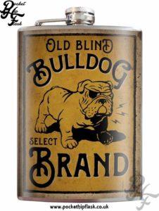 Old Blind Bulldog Brand 8oz Stainless Steel Hip Flask