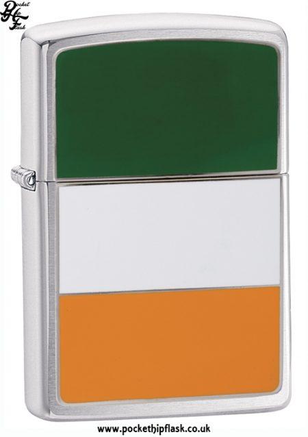 brushed Chrome Zippo Lighter with Irish Flag