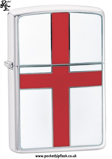 Brushed Chrome Zippo Lighter with St George's Cross