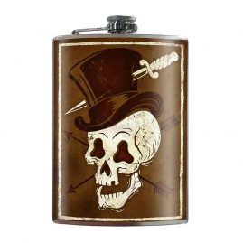 Skull-Hat-8oz-Stainless-Steel-Hip-Flask