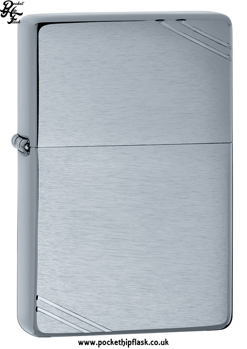 Vintage Style Brushed Chrome Zippo Lighter with Corner Slashes