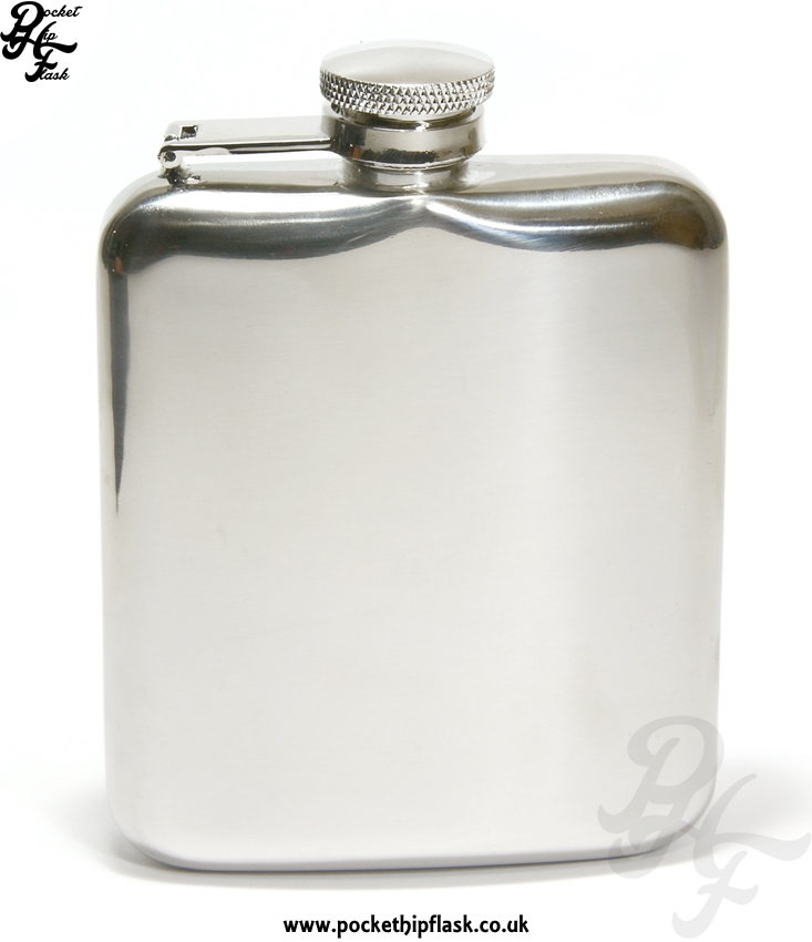 6oz Stainless Steel Cushion Hip Flask with Captive Top