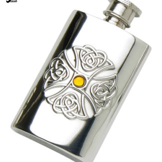 2oz-Celtic-Pewter-hip-flask-with-Glass-Topaz-Stone