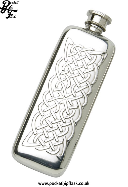 3oz-Slim-Line-Pewter-Boot-Hip-Flask-with-Celtic-Knot