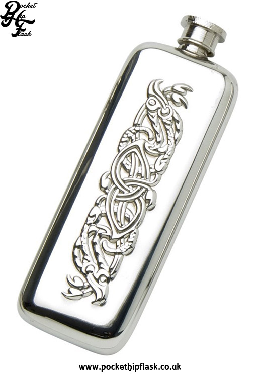 3oz-Slim-Line-Pewter-Boot-Hip-Flask-with-Celtic-Serpent