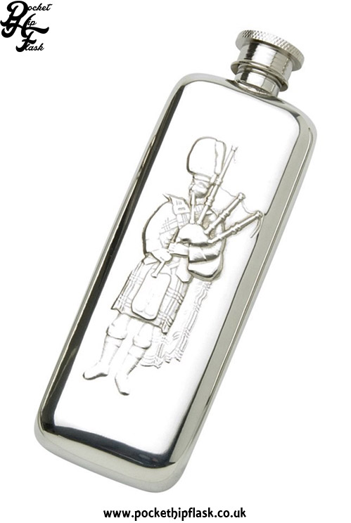 3oz-Slim-Line-Pewter-Boot-Hip-Flask-with-Scottish-Piper
