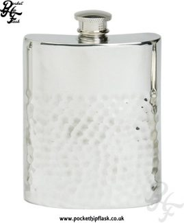 6oz-Two-Thirds-Hammered-Pewter-Hip-Flask