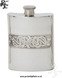 Celtic-Serpent-Pewter-Hip-Flask-6oz,-Spirit-Flask,-Pocket-Flask