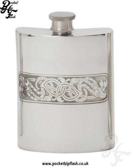 Celtic-Serpent-Pewter-Hip-Flask-6oz,-Spirit-Flask,-Pocket-Flask
