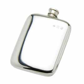 Pewter Cushion Shaped Hip Flasks