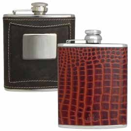Leather encased Stainless Steel Hip Flasks