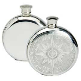 Round Pewter Hip Flasks