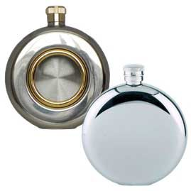 Round Stainless Steel Hip Flasks