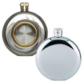 Round Stainless Steel Hip Flasks