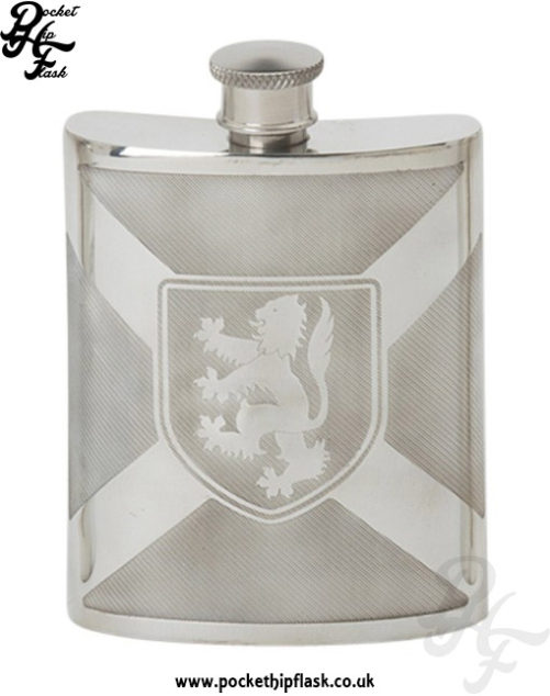 Scottish-Flag-and-Lion-Rampart-Shiny-pewter-hip-flask-6oz