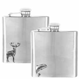 Stainless Steel Hip Flasks with Pewter Figures