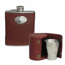 Spanish Leather Stainless Steel Hip Flasks