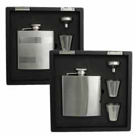 Hip Flask Gift Sets in Wooden Presentation Boxes