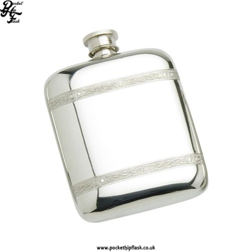 4oz Pewter Cushion Hip Flask with Celtic Wire
