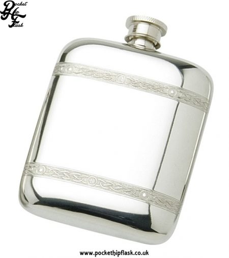 6oz Pewter Cushion Hip Flask with Celtic Wire