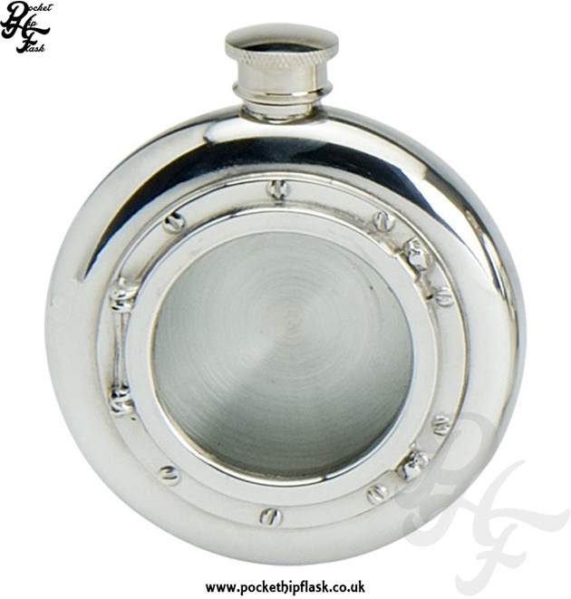 6oz Round Pewter Hip Flask with Port Hole