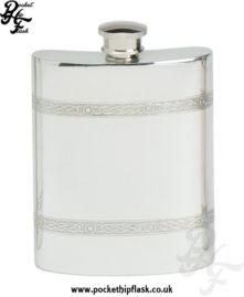 6oz Celtic Wire Pewter Hip Flask