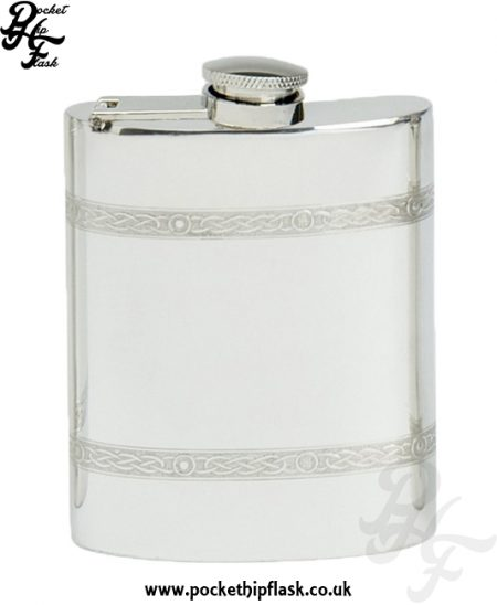 6oz Celtic Wire Pewter Hip Flask with Captive Top