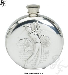 6oz Round Pewter Golfing Hip Flask