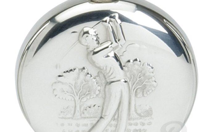 6oz Round Pewter Golfing Hip Flask