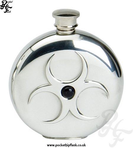 6oz Round Pewter Hazard Hip Flask