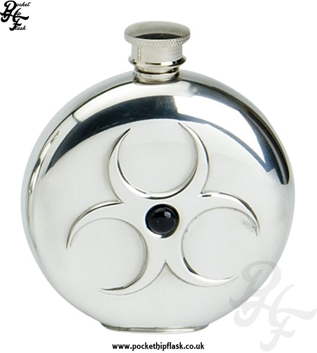 6oz Round Pewter Hazard Hip Flask