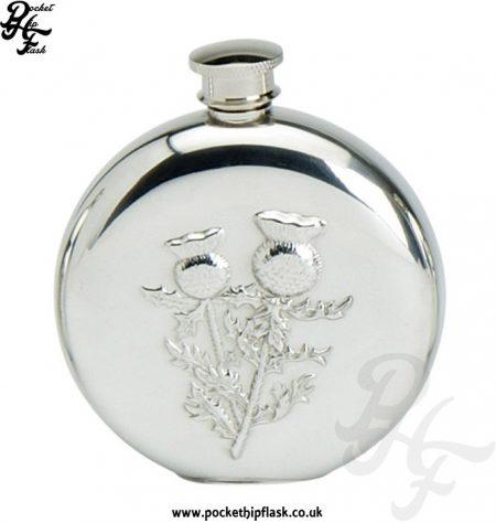 6oz-Round-Pewter-Scottish-Thistle-Hip-Flask