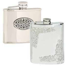 Celtic hip flasks with captive top