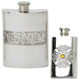 Celtic hip flasks with traditional top