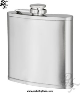 6oz Brushed Stainless Steel Hip Flask with Lip