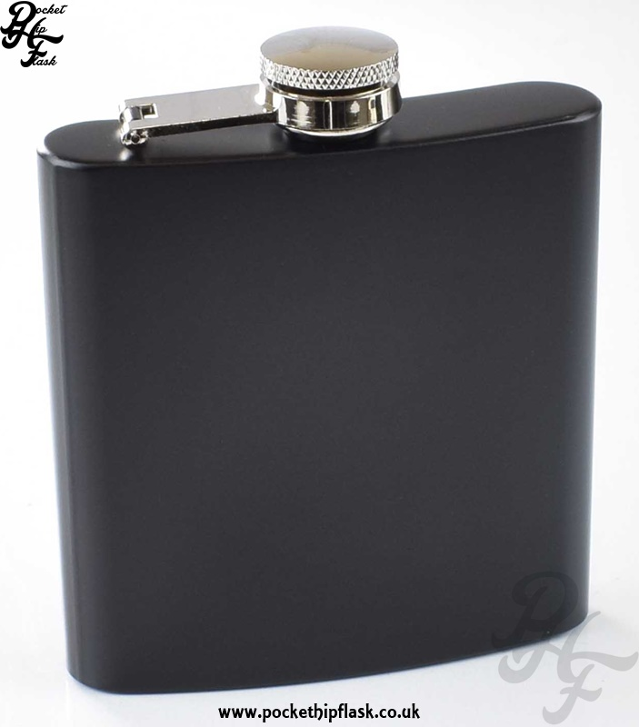 Black Hip Flask 6oz Stainless Steel