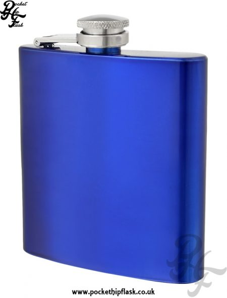 Blue Hip Flask 6oz Stainless Steel