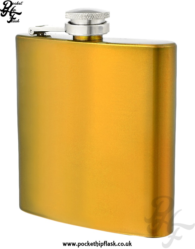 Gold Hip Flask 6oz Stainless Steel
