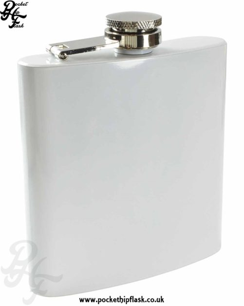 White Hip Flask 6oz Stainless Steel
